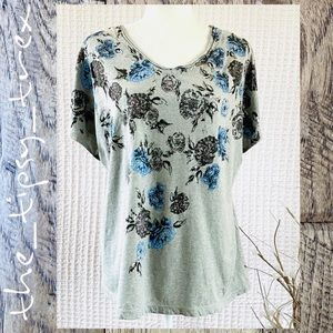 Relatively Grey Floral Tee 2X